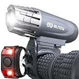 BLITZU Gator 320 USB Rechargeable Bike Light Set Super Bright Front Headlight and Back LED Rear Bicycle Light for Kids Adults Men Women Road Cycling Safety Flashlight Easy to Install