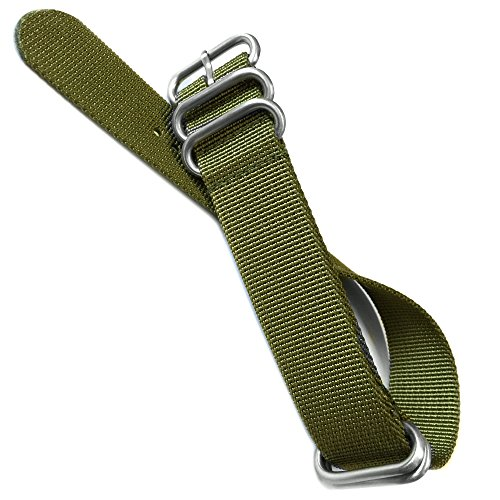 Ballistic Nylon Watch Band with 5 Stainless Steel Rings 12″/308mm