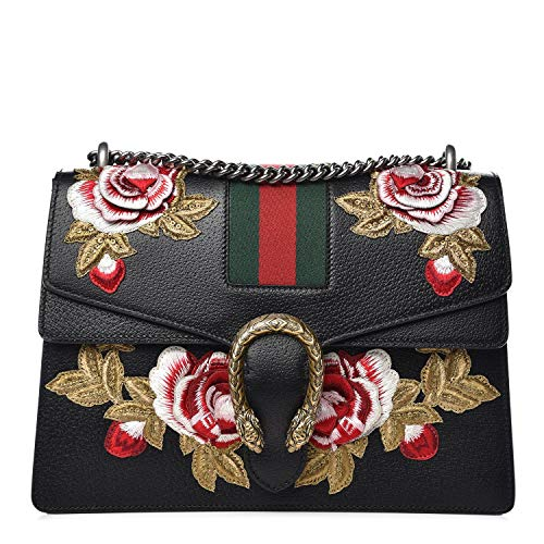 """51nWpZhjpGL Gucci Black Dionysus Medium Web Strip Flower Red Handbag New Leather Floral Embroidered Dionysus Shoulder Bag New The Dionysus shoulder bag is a newer style from Gucci that has already become a classic. Featuring structured leather with embroidery and the iconic web stripes. The textured tiger head closure is a reference to the Greek god Dionysus. The sliding chain strap can be worn on the shoulder or carried by hand. You will want to own this desirable and hard to find piece Measurements: 1 Interior Pockets: Front flap pocket under flap closure and one middle zip compartment Handles: Silvertone chain strap Handle Drop: 8"""", 13"""" Closure/Opening: Flap top with pinch lock closure Made in Italy New w tags Dustbag Authentic Certificate of Authenticity Also available in brown. Made in Italy"""