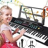 Pianos Numériques Portables, Magicfun 61 Touches Clavier électronique de Piano Chargable Clavier Piano avec Microphone pour Enfants Garçon Filles Cadeau(Noir)