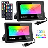 Ustellar 2 Pack 20W RGB LED Flood Lights Indoor Outdoor Color Changing Floodlight with Remote Control, IP66 Waterproof 1000 Colors 6 Modes with Timer Dimmable Wall Washer Light Stage Lighting