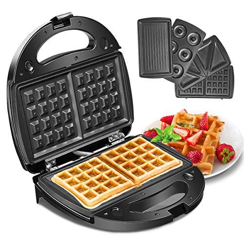 Waffeleisen, Godmorn 4IN1 Sandwichmaker, Waffelautomat, Waffel Maker, Sandwich-Toaster, Panini-Maschine, Donut-Herstellungsmaschine, Antihaft-Platte, 750W, Automatische Temperaturregelung
