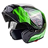 Typhoon G339 Modular Motorcycle Helmet DOT Dual Visor Full Face Flip-up - Green XXL