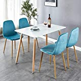 OKAKOPA 43.3' 5 Piece Dining Table Set, Mid-Century Modern Rectangle Table for Kitchen and 4 Dining Room Chairs with Metal Legs (White+Blue, 5 Pcs Set)