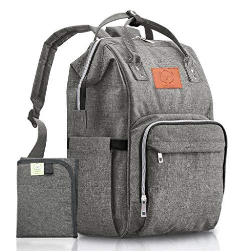 Grand sac à dos à langer KeaBabies - Sac à langer imperméable multifonction pour papa, maman et bébé - Sacs à langer - Résistant et élégant - Comprend des matelas à langer (Gris)