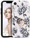 Imikoko iPhone XR ケース 花柄 かわいい おしゃれ リング スタンド ストラップホール付き シ……