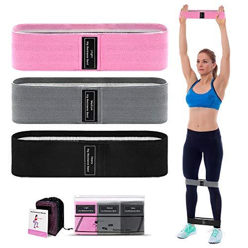 Fasce di resistenza per esercizi di allenamento, in tessuto, confezione da 3 pezzi, fasce elastiche...