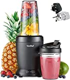 VonShef 220 240 Volts Ultra Powerful 1000 WATTS Blender/Smoothie Maker Large & Small CUPS Bundle With Dynastar Plug Adapters & Multiple Cups | 220v 240v (NOT FOR USA)