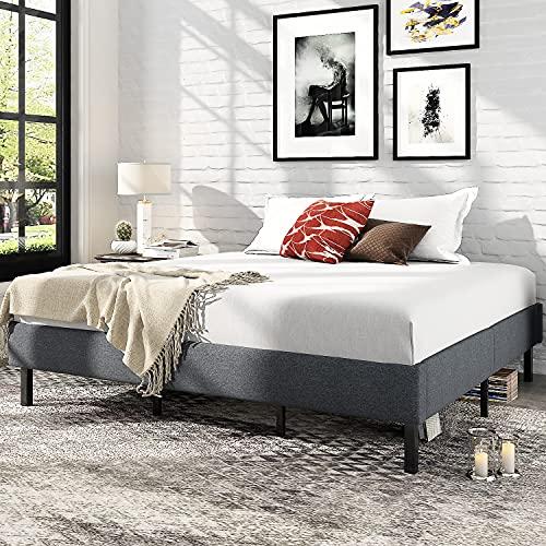 SHA CERLIN King Size Upholstered Platform Bed Frame / 36 Wooden Slats Support / No Box Spring Needed / Easy Assembly / Dark Grey