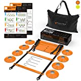 20ft Agility Ladder & Speed Cones Training Set - Exercise Workout Equipment To Boost Fitness &...