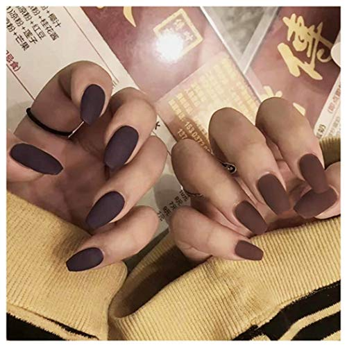 Kakaco 24Pcs False Nails Matte Full Cover Medium Ballerina Coffin Natural Acrylic Chocolate Fake Nails Punk Christmas Party Prom Clip on Nail for Women and Girls (chocolate brown)