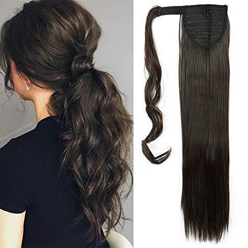 """TESS Pferdeschwanz Extensions Ponytail Haarteil Clip in wie Echthaar Haarverlängerung günstig Zopf Extensions Haarteile Glatt 26\""""(66cm)-100g dunkel Braun"""