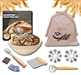 10 inch Proofing Basket for Baking Bread - 28pcs MA SQUARED Banneton (Brotform) Proofing Set with Linen, Bread Lame, Whisk, Scraper, Bread Bag & 16 Pcs Bread Stencils For Professional & Home Bakers