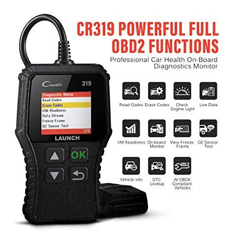 LAUNCH CR319 Scanner Auto Diagnostic OBD2 / EOBD/Can pour Lire et Effacer Les Codes d'Erreur du Moteur, Testeur d'EVAP et de Capteur d'O2 avec Recherche de Définition de Code Adapté pour Débutants