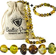 Baltic Amber Necklace and Bracelet Gift Set (Unisex Green Forest) – Certified..