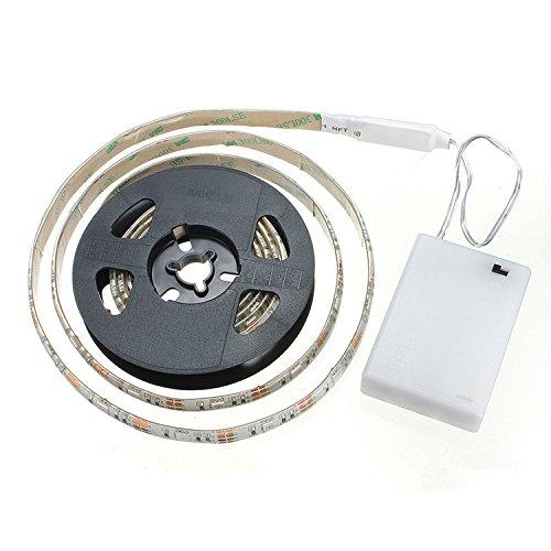 cuzile - Striscia luminosa LED bianca 100 cm 33 pollici + striscia LED luce box batteria + interruttore, alimentazione a batteria