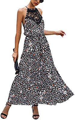 Material: Cotton. This women's floral dress is 100% brand new and high quality! Catagory: women's dresses, floral dress, halter dress, leopard dress, maxi dresses, lace dress Feature: This women's dress is featured with Floral/leopard Print, Halter N...