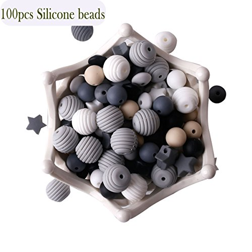 HAO JIE Baby Silicone Teether Beads 100pcs BPA Free Food Grade Teething Beads Black and White Ser…