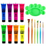 Body Paint - Set of 8 Tubes - Neon Fluorescent 8.0 oz, ETEREAUTY Glow Blacklight Face and Body Paint...