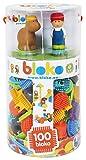 BLOKO - 503615 - Tube de 100 avec 4 Figurines 3D de la Ferme - Dès 12 Mois - Fabriqué en Europe - Jouet de Construction