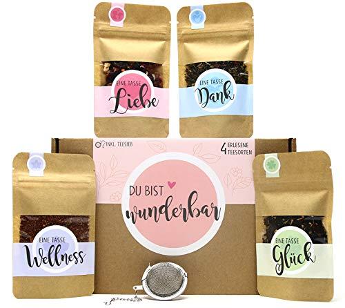 Du bist wunderbar Tee Geschenk-Box mit 4 verschiedene Sorten Tee und Tee-Ei Geschenk Geschenkidee...