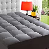 ELEMUSE Queen Grey Cooling Mattress Topper for Back Pain, Extra Thick Mattress pad Cover, Plush Soft Pillowtop with Elastic Deep Pocket, Overfilled Down Alternative Filling