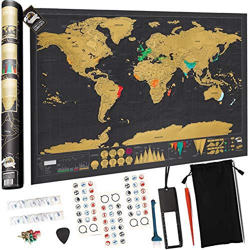 Mapa para Rascar del Mundo, Devlop Mapa del Mundo XXL 825*594mm - Paquete de regalo - Incluye una herramienta para rascar con precisión y pegatinas de recuerdo de viajes - Perfecto para los viajeros