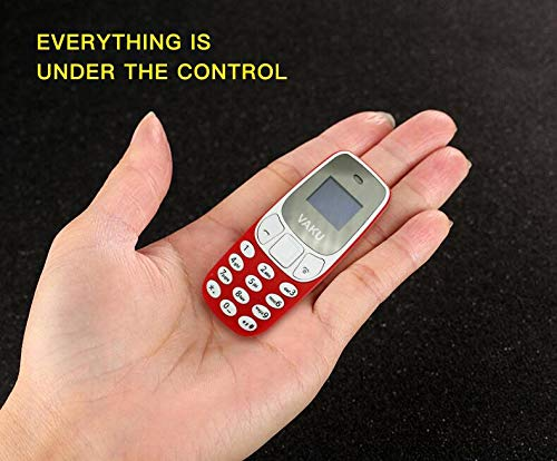 Vaku Luxos LBSTAR World's Smallest Dual-Sim Nano Phone with Voice Changer, Alarm, Bluetooth and More (Red)
