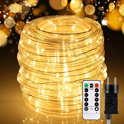 20M LED Lichtschlauch Außen, ECOWHO 200 LEDs Lichterschlauch mit Fernbedienung, 8 modi und Timer, IP65 Wasserdicht Lichterkette, Strombetrieben Lichterketten für Innen Party Weihnachten Deko, Warmweiß