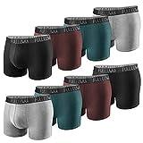 Fullluwaa Fitted Boxers Shorty (Lot de 8) Homme Coton sous-vêtement Trunk Caleçons ,L,Multicolore