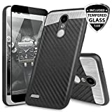 TJS Case for LG Aristo 2/Aristo 2 Plus/Aristo 3/Aristo 3 Plus/Tribute Dynasty/Tribute Empire/Fortune 2/Rebel 3 LTE [Full Coverage Tempered Glass Screen Protector] Metal Carbon Fiber Phone (Black)