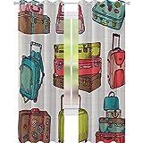 YUAZHOQI Doodle Cortina de ventana colorida Maletas de diseño inspirado en vacaciones Viajes al extranjero Estilo Vintage Obra de Arte 132 cm x 213 cm Cortinas opacas para dormitorio Multicolor