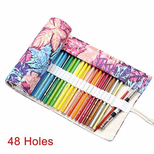 Alftek - Astuccio arrotolabile in tela per cosmetici, pennelli da trucco, custodia per matita,...