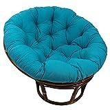 Blazing Needles Solid Twill Papasan Chair Cushion, 52' x 6' x 52', Aqua Blue
