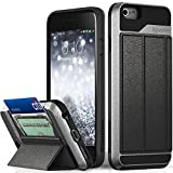 Vena iPhone 6S Wallet Case, vCommute Drop Protection Flip Leather Cover Card Slot Holder with Kickstand for Apple iPhone 6 6S (Space Gray, Black)