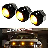 iJDMTOY SVT Raptor Style Amber LED Grille Lighting Kit Universal Fit Compatible With Truck or SUV, 3-Piece High Power Amber Yellow Grill Marker Light Set