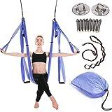 JIALFA Aerial Hamaca de Yoga,Yoga Swing para Yoga antigravedad, Ejercicios de inversión, Flexibilidad Mejorada y Resistencia del núcleo - Accesorios de Montaje incluidos (Purple Stitching)