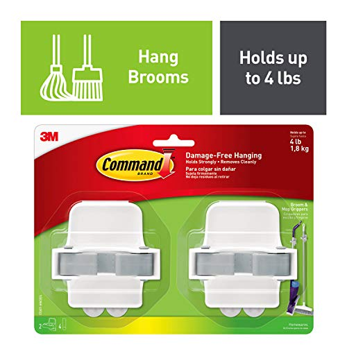 Command 08095001268 Broom & Mop Grippers, Holds up to 4 lbs...
