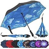 Repel Umbrella Inverted Umbrella, Upside Down Reverse Umbrella with 2 Layered Teflon Canopy and Reinforced Fiberglass Ribs (Blue Sky)