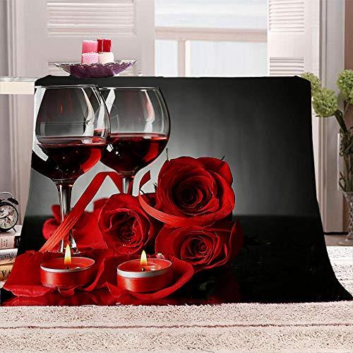ZFSZSD Coperta di Pile Vino Rosato e Rosso Morbida Coperte Ideale per Regalo Natale o per Comodo Relax sul Divano, TV, in casa. 150x200cm