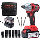 Cordless Impact Wrench - JSD 20V Electric Impact Driver (4.0Ah Battery, Brushless Motor, 1/2 & 1/4 Inch Quick Chuck, 2-Speed, Tool Bag) - High Torque Impact Kit for Home & DIY Project