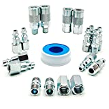YOTOO 19 Pieces Air Hose Fittings, 1/4 NPT Industrial Air Coupler & Plug Kit with Storage Case