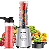 Arcbt Stainless Steel Bullet Blender for Shakes and Smoothies, Professional 400-Watt Small Personal Blender for Kitchen, Single Serve Portable Mini Blender with 2 Tritan BPA-Free 20.3oz Travel Bottles