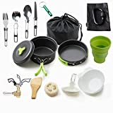 Camping Cookware Mess Kit Backpacking Gear & Hiking Outdoors Bug Out Bag Cooking Equipment 18 Piece Cookset | Lightweight, Compact, Durable Pot Pan Bowls - Free Folding Spork, Nylon Bag (Green)