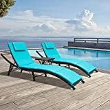 GUNJI Chaise Lounge Chairs for Outside 3 Pieces Patio Adjustable Lounge Chairs Set of 2 with Table Outdoor Rattan Wicker Pool Chaise Lounge Chairs Cushioned Poolside Folding Chaise Lounge Set (Blue)