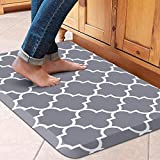 WISELIFE Kitchen Mat Cushioned Anti-Fatigue Kitchen Rug,17.3'x 28',Non Slip Waterproof Kitchen Mats and Rugs Heavy Duty Ergonomic Comfort Mat for Kitchen, Floor Home, Office, Sink, Laundry , Grey