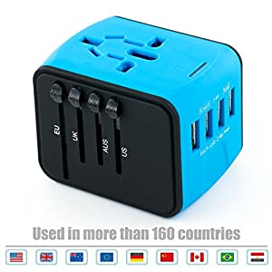 Slide-out all-in-one world travel adapter plug include: US/UK/AU/EU pins, covers more than 150 countries:Truly universal: with USA, UK, EU and AU/ China plugs, which fits over 150 countries Works in worldwide: Asia: China, Japan, Malaysia, Singapore,...