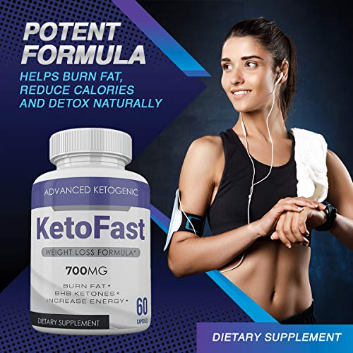Keto Fast - Advanced Ketogenic Weight Loss Formula - 700MG - Burn Fat - BHB Ketones - Increase Energy - 60 Capsules - 3 Month Supply 5