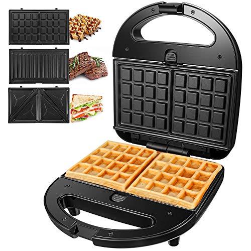 OSTBA Tostiera Sandwich Maker, piastre per panini 3 in 1, Cool Touch Waffles piastra 750w, Gancio...