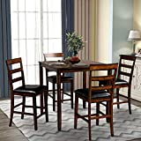 Merax 5-Piece Square Counter Height Wooden Dining Set, Dining Room Table and 4 Chairs with Footrest, Brown